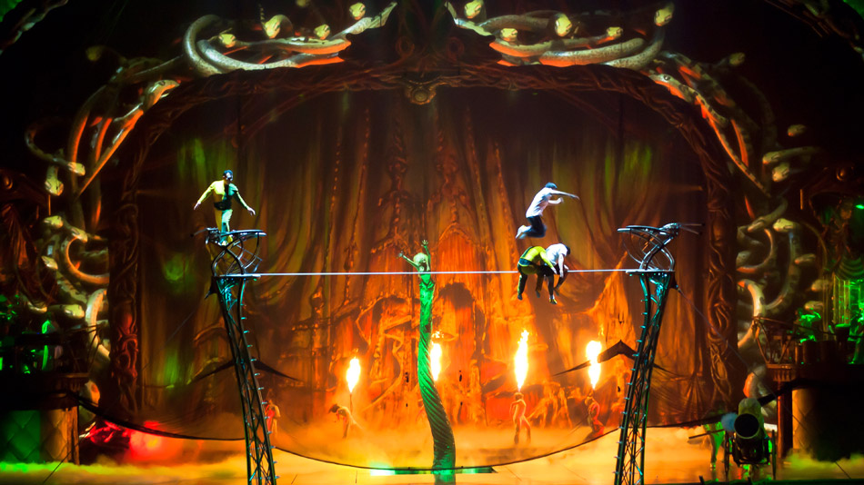 The animated snakes are designed to interact with the live performance.  (Photo: Cirque du Soleil)