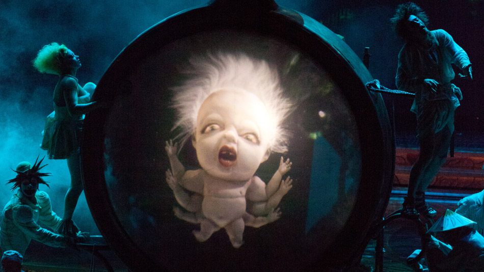 The audience can see through the video water tank.  (Photo: Cirque du Soleil)