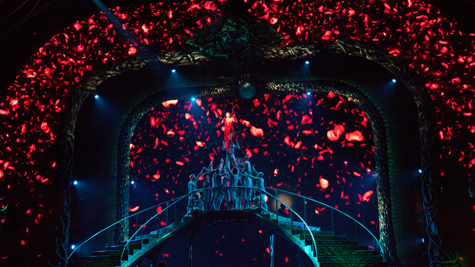 A rain of video petals.  (Photo: Cirque du Soleil)