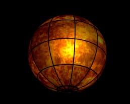 Six projecteurs intégrés à la sphère créaient une image sur 360 degrés.
