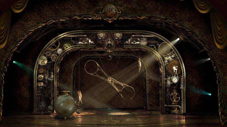 Maquette préliminaire du décor vidéo de la roue de la mort. (Image: Fly Studio)