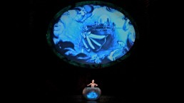 The sand painting is projected live. (Photo: Cirque du Soleil)