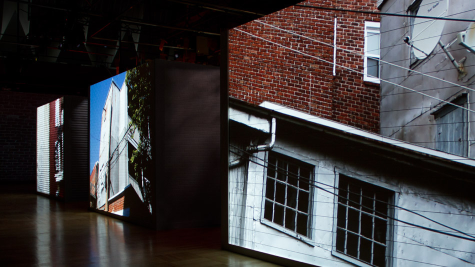 Video projections filmed in the back alleys of Plateau Mont-Royal.